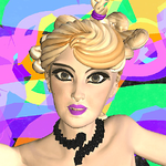 Close up portrait of 3D avatar, a woman with curly blonde hair in ponytail, pink lipstick, and black necklace. Colorful background.