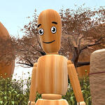 Headshot of a 3D avatar in High Fidelity VR platform, Woody, a wooden stick figure with eyes and a smile, standing in front of a large tree.