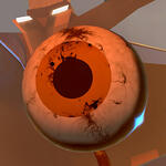 Close up headshot of a 3D avatar in High Fidelity VR platform, it is an eyeball with an orange iris and visible blood vessels.