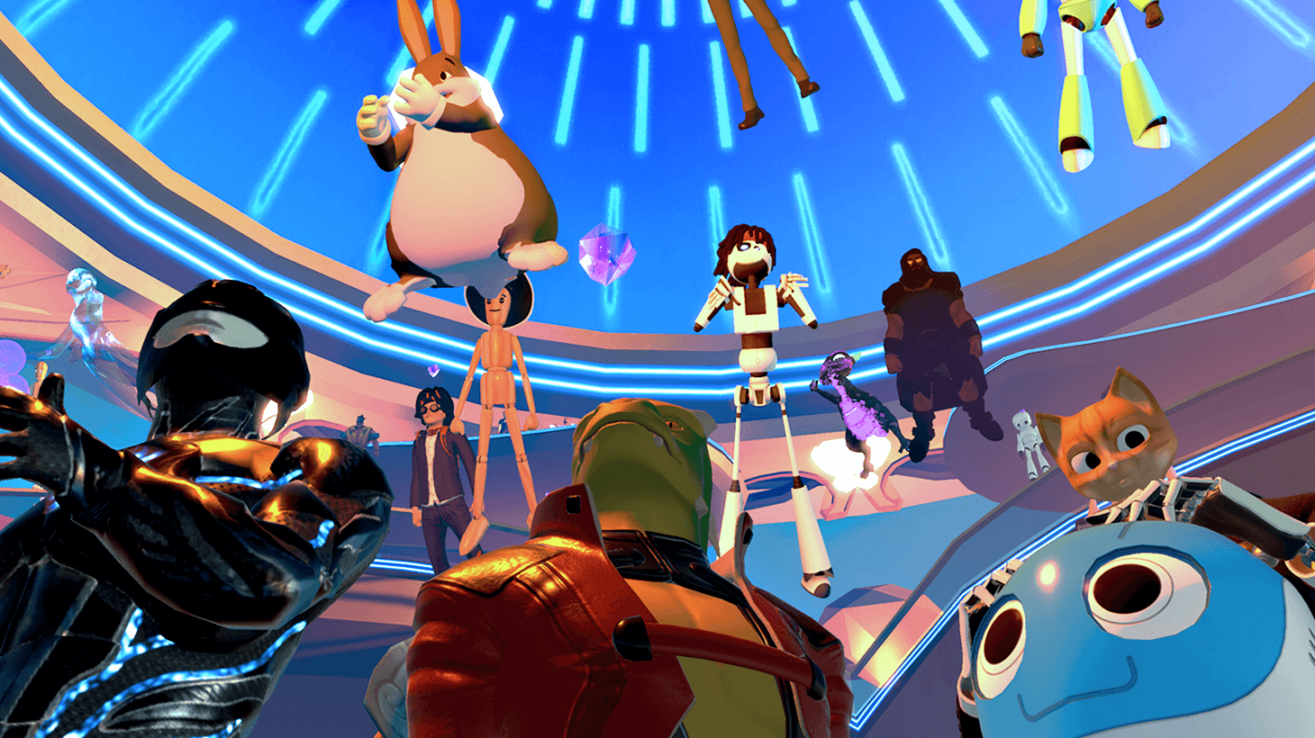 3D world in High Fidelity VR showing many 3D avatars hovering against a bright blue ceiling. There is a robot kitten, blue robot, Big Chungus, Woody, dragon, and more.