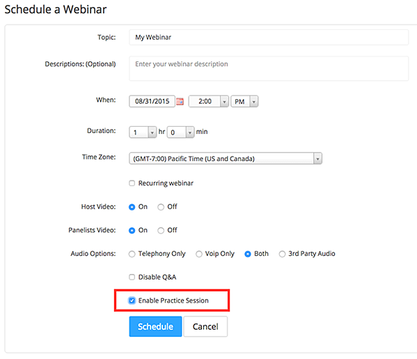 Screenshot of Zoom's page for scheduling a webinar.