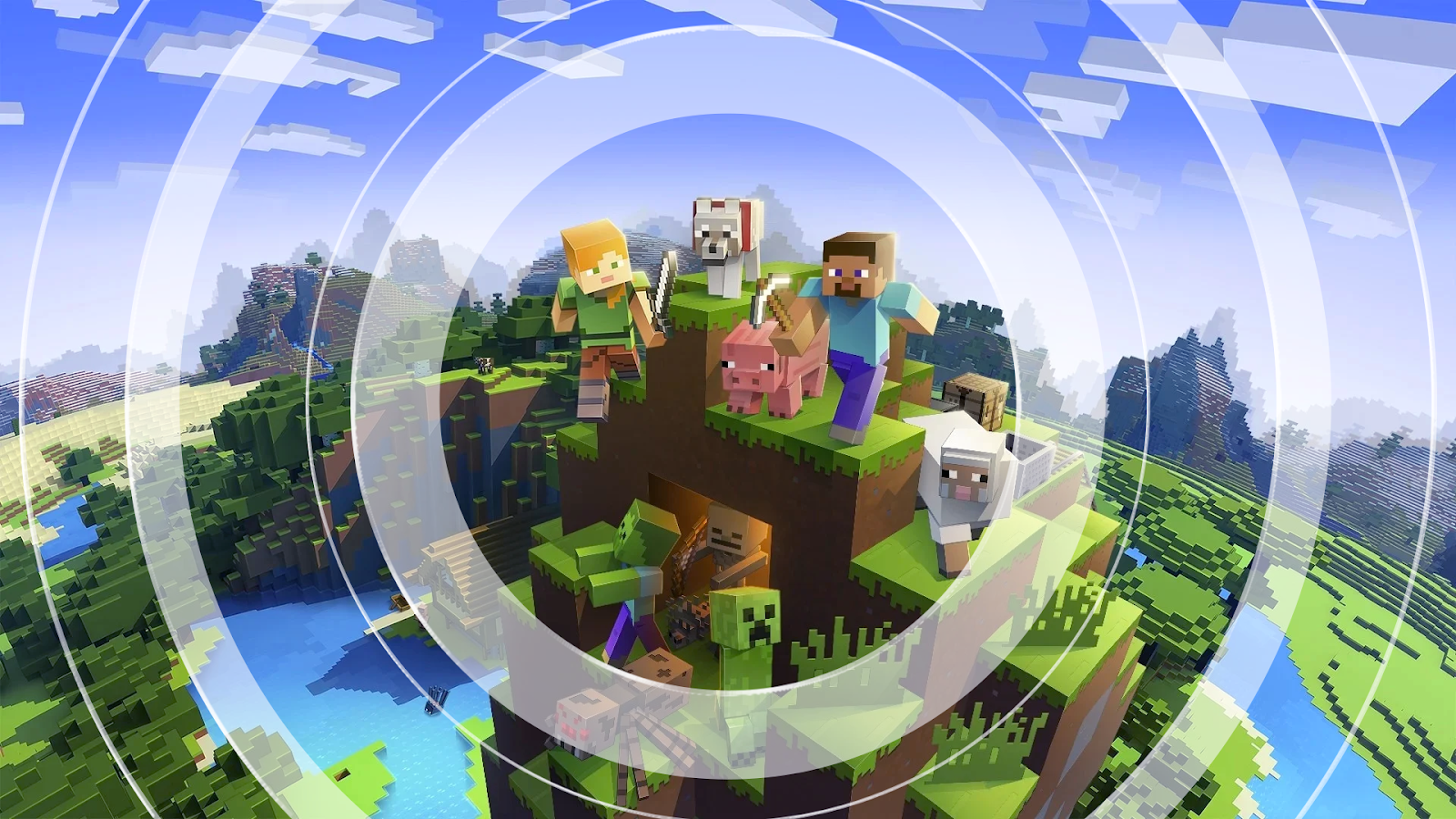 Minecraft avatars with rings expanding outwards, representing the sound waves.