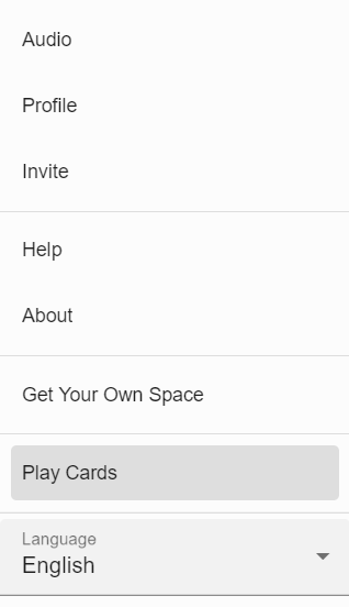 Play Cards highlighted in the menu.