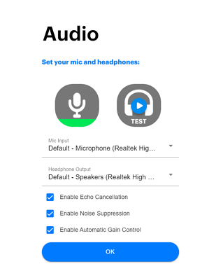 Audio menu showing unmuted microphone.