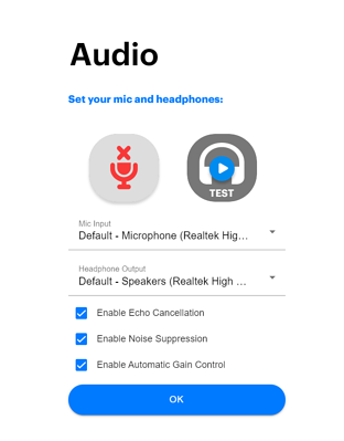 Audio menu showing muted microphone marked with an X.