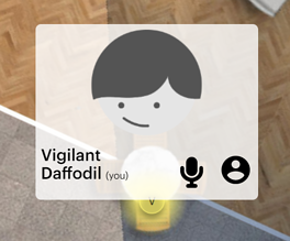Avatar dot showing a microphone icon.