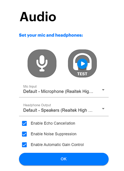 Audio menu with Enable Echo Cancellation checked