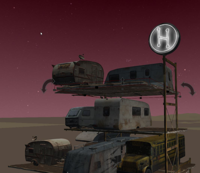Trailers, campers, old school buses topped with emissive material in High Fidelity VR.