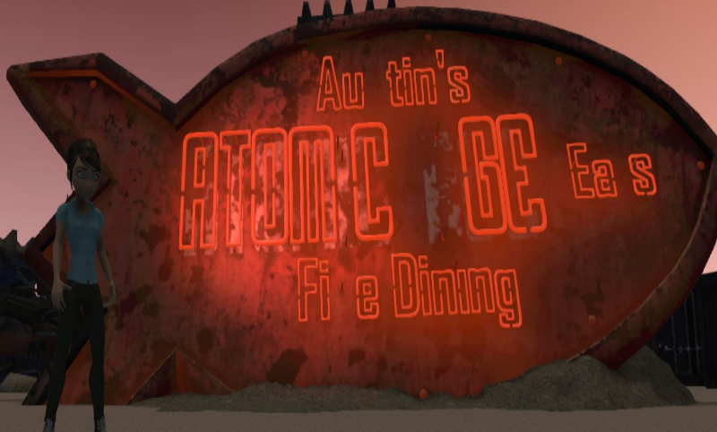Atomic Eats sign combines PBR with an emissive map and a couple red lights to cast additional light on avatars and neighboring models in high fidelity VR.