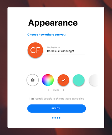 Profile menu with options to change your display name, color, and upload a profile picture