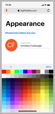 Profile menu showing color picker option