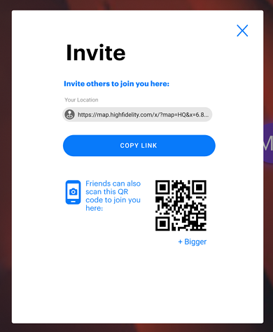 Invite menu showing QR code and link to copy