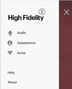 High Fidelity menu showing Invite on the list