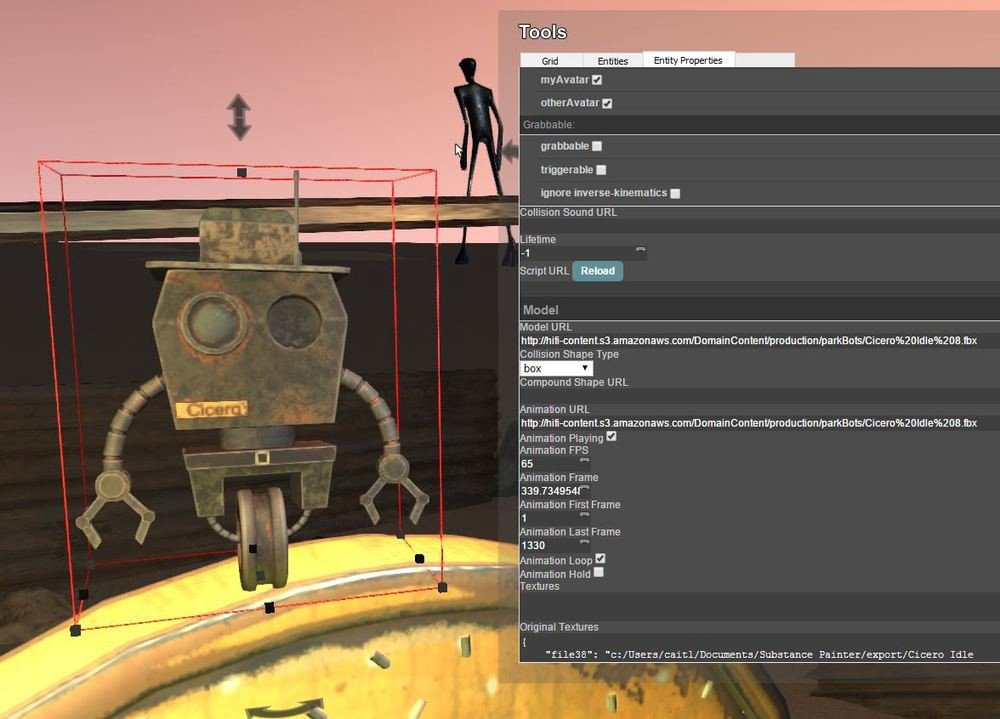 Cicero's entity properties reveals both the model and animation URL, as well as the frame settings