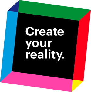 """Voxel graphic with the words """"Create your reality"""" placed inside."""