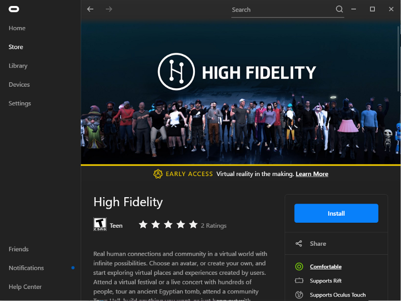 High Fidelity Now Rezzed in the Oculus Store