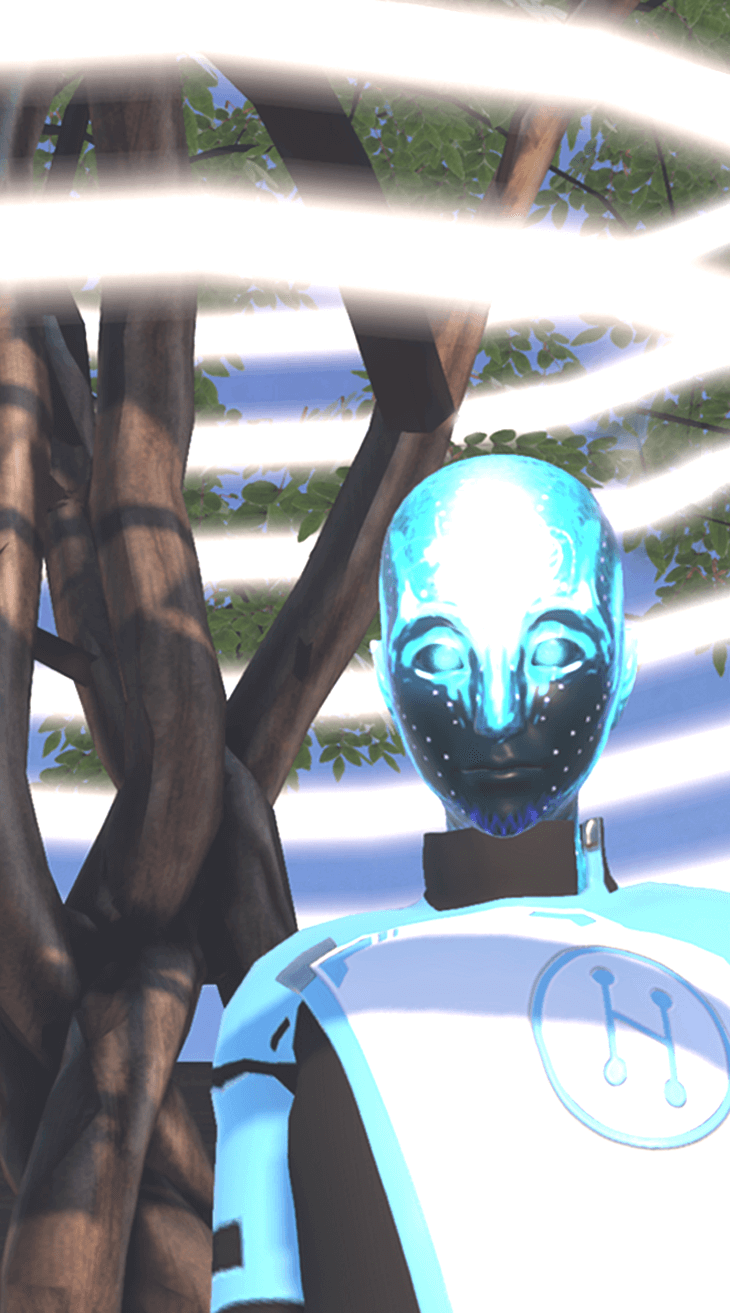 Glowing blue support avatar standing in Welcome, a virtual environment where users learn the basics of High Fidelity