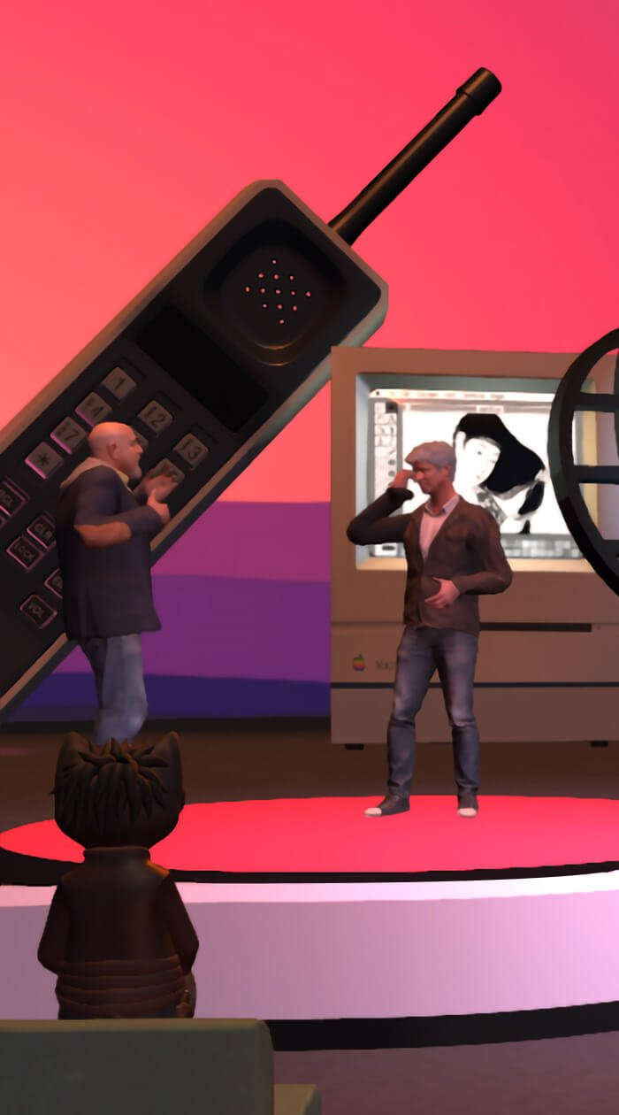 3D world in High Fidelity VR of Philip Rosedale (as 3D avatar) talking with another 3D avatar on a stage. A gigantic telephone and screen is behind them; the background is bright pink and purple.